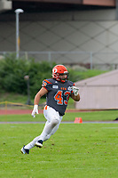 KELOWNA, BC - SEPTEMBER 22:  Will Kuyvenhoven #43 of Okanagan Sun runs on the field against the Valley Huskers at the Apple Bowl on September 22, 2019 in Kelowna, Canada. (Photo by Marissa Baecker/Shoot the Breeze)