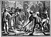 Martin Luther (1483-1546) German Protestant reformer, burning the Papal Bull excommunicating him. Wittenberg, 1520.