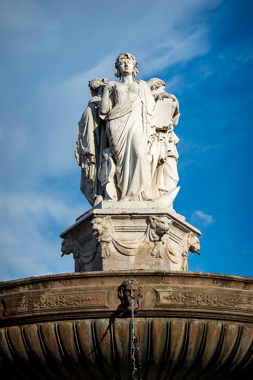 The Rotunda Fountain, created in 1860, in Aix-en-Provence, France