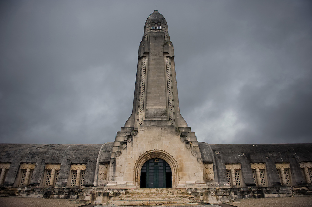 The Douaumont ossuary (L'ossuaire de Douaumont) built in 1932 is a memorial containing the remains of soldiers who died at the battle of Verdun (21 February 1916 – 19 December 1916) During the battle 230.000 man died.  Ossuaire de Verdun, Verdun, Meuse, France