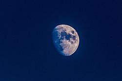 The moon at the Falkirk Stadium.<br /> Falkirk 0 v 0 Hamilton, Scottish Championship game at The Falkirk Stadium. © Michael Schofield 2014.