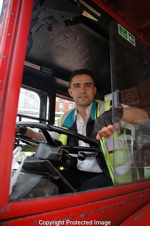 London double decker bus driver about to begin his shift.