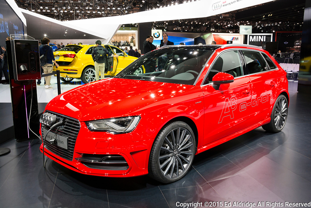 DETROIT, MI, USA - JANUARY 12, 2015: Audi A3 etron on display during the 2015 Detroit International Auto Show at the COBO Center in downtown Detroit.