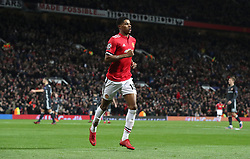 Manchester United's Marcus Rashford celebrates scoring his side's second goal during the UEFA Champions League match at Old Trafford, Manchester.