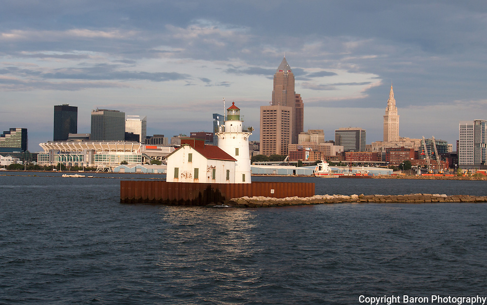 Cleveland lighthouse and skyline from Lake Erie