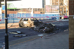 © Licensed to London News Pictures. 17/01/2013. London, UK. Wreckage is seen in a road near Vauxhall after a helicopter hit a crane attached to the St George's Wharf development in Vauxhall, London, yesterday (17/01/13). 2 (two) people, including the pilot, died as a result of the incident and a further 11 (eleven) injured after the Augusta 109 helicopter collided with the crane in heavy mist showering wreckage onto cars below. Photo credit: LNP