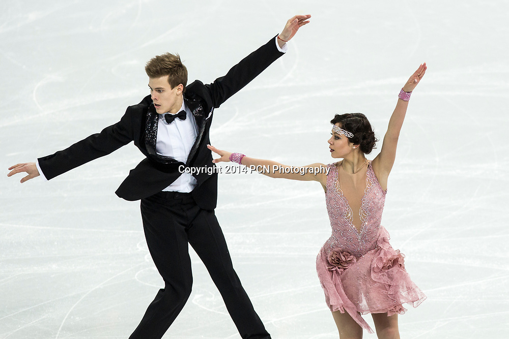 Elena Ilinykh and Nikita Katsalapov(RUS) performing in the  Ice Dance short program at the Olympic Winter Games, Sochi, Russia 2014