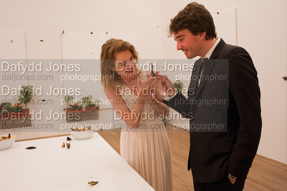 NATALIA VODIANOVA; ANTOINE ARNAUD WITH BUTTERFLIES, Damien Hirst, Tate Modern: dinner. 2 April 2012.