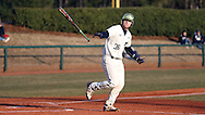 CARY, NC - MARCH 04: Notre Dame's Ryan Lidge flips his bat away as he walks to first base. The University of Rhode Island Rams played the University of Notre Dame Fighting Irish on March 4, 2017, at USA Baseball NTC Field 3 in Cary, NC in a Division I College Baseball game, and part of the Irish Classic tournament. Notre Dame won the game 8-4.