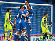 Brighton striker Bobby Zamora  celebrates with Brighton striker Anthony Knockaert & Jamie Murphy after opening the scoring during the Sky Bet Championship match between Brighton and Hove Albion and Huddersfield Town at the American Express Community Stadium, Brighton and Hove, England on 23 January 2016. Photo by Bennett Dean.