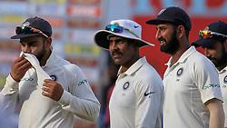 August 5, 2017 - Colombo, Sri Lanka - Indian cricket captain Virat Kohli (L), Ravindra Jadeja (2L), Cheteshwar Pujara (3L) walk off at the end of 3rd Day's play in the 2nd Test match between Sri Lanka and India at the SSC international cricket stadium at the capital city of Colombo, Sri Lanka on Saturday 5th August 2017. (Credit Image: © Tharaka Basnayaka/NurPhoto via ZUMA Press)