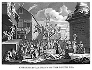 William Hogarth's print published in 1721, satirising the South Sea Bubble. People queue to enter Devil's shop, while he cuts up Fortune. Clerics of various denominations gamble (1.foreground) People ride on wooden hobby horse. Honour is flogged in the stocks by Villainy and Honesty is broken on the wheel with self-interest acting as confessor. Engraving