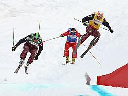 29.01.2011, Grasgehren Lifte, Grasgehren, GER, FIS Skicross World Cup, Grasgehren, im Bild Andreas MATT (AUT), Amrin NIEDERER (SUI) und Patrick KOLLER (AUT) beim Zielsprung // Andreas MATT (AUT), Amrin NIEDERER (SUI) und Patrick KOLLER (AUT) by the final jump before the finish line FIS Skicross World Cup in Grasgehren, Germany, EXPA Pictures © 2011, PhotoCredit: EXPA/ S. Kiesewetter