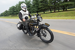 Steve Rinker riding his 1916 Indian during the Motorcycle Cannonball Race of the Century. Stage-5 from Bloomington, IN to Cape Girardeau, MO. USA. Wednesday September 14, 2016. Photography ©2016 Michael Lichter.