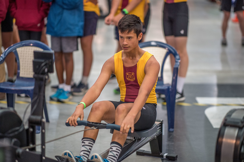 Oliver Ng MALE HEAVYWEIGHT U15 2K Race #4  09:15am<br /> <br /> <br /> www.rowingcelebration.com Competing on Concept 2 ergometers at the 2018 NZ Indoor Rowing Championships. Avanti Drome, Cambridge,  Saturday 24 November 2018 © Copyright photo Steve McArthur / @RowingCelebration
