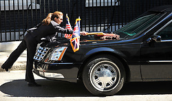 The  US President Barack Obama Car is cleaned by his driver in Downing Street, London, On day 2 of his UK tour, Wednesday May 25,2011. Photo By Andrew Parsons/Parsons Media