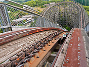 Nara Dreamland: Japan's last abandoned theme park<br /> <br /> Nara Dreamland opened in 1961, inspired by Disneyland in California. For 45 years its central fantasy castle, massive wooden rollercoaster Aska, and corkscrewing Screwcoaster pulled in the big crowds. By then though it was outdated, and dying a slow death as Universal Studios Japan (built 2001) in nearby Osaka sucked all the oxygen out of the business. It closed its doors permanently in 2006. - <br /> On July 1, 1961, Nara Dreamland opened. The entrance to the park was designed to look almost identical to Disneyland, including the Train depot, a Main Street, U.S.A. and the familiar Sleeping Beauty Castle at the hub. It also had a Matterhorn-type mountain (with a Matterhorn Bobsleds-type ride, called Bobsleigh) with the skyway running through it, as well as an Autopia-type pubs and a monorail. The park also had its own mascots, Ran-chan and Dori-chan, two children dressed as bearskin guards.<br /> <br /> It was almost an exact replica of Disneyland, visitors liked going there as it was the closest thing they could get without traveling to US. At its peak, the park had 1.6 million visitors a year.<br /> ©Ralph Mirebs/Exclusivepix Media