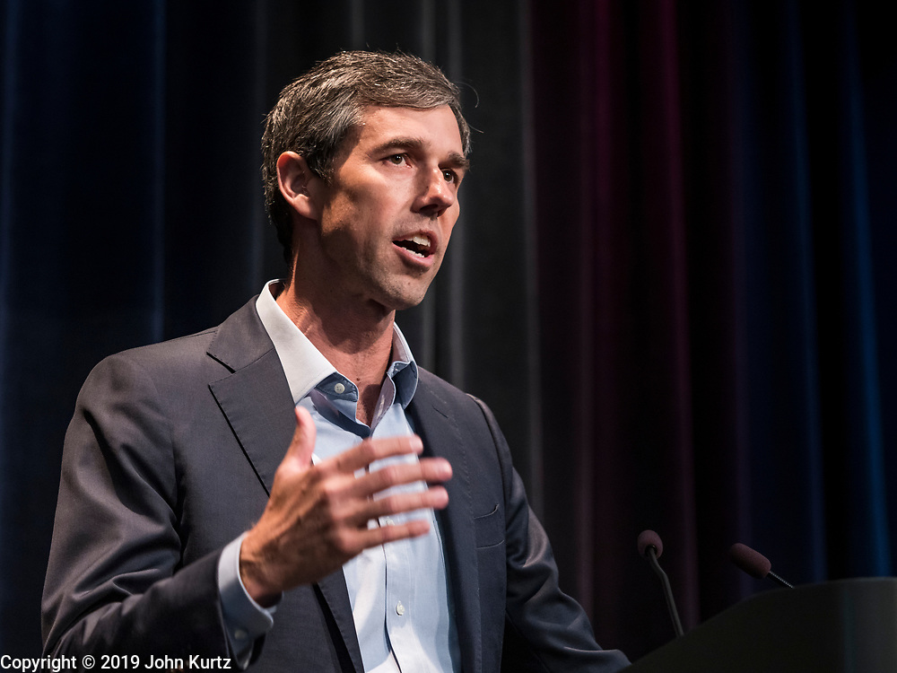 21 AUGUST 2019 - ALTOONA, IOWA: Former Congressman BETO O'ROURKE (D-TX) talks to union members at the Iowa Federation of Labor convention. Many of the Democratic presidential candidates are addressing the Iowa Federation of Labor convention at the Prairie Meadow Casino in Altoona. They are hoping to secure labor support before the Iowa Caucuses on Feb. 3, 2020.      PHOTO BY JACK KURTZ