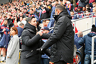 Bristol City manager Lee Johnson and Wolverhampton Wanderers manager Nuno Espirito Santo shake hands before the The FA Cup 5th round match between Bristol City and Wolverhampton Wanderers at Ashton Gate, Bristol, England on 17 February 2019.