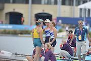 Eton Dorney, Windsor, Great Britain,..2012 London Olympic Regatta, Dorney Lake. Eton Rowing Centre, Berkshire[ Rowing]...Description; Women's Pairs, left AUS W2-  and  Gold Medalist Helen GLOVER and Heather STANNING. GBR W2-   Dorney Lake...12:16:04  Wednesday  01/08/2012..[Mandatory Credit: Peter Spurrier/Intersport Images].