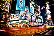 Night lights and colors of Times Square in Manhattan, New York, 2010.