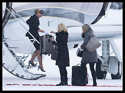February 1, 2018 - Oslo, Norway - Image licensed to i-Images Picture Agency. 01/02/2018. Oslo, Norway. Staff and air crew take off the Duke and Duchess of Cambridge's  luggage as they arrive at Oslo airport in Norway  on day three of their Royal Tour to Sweden and Norway. (Credit Image: © Stephen Lock/i-Images via ZUMA Press)