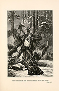 The Frenchman has stunned three with his fists. from the book ' Around the world in eighty days ' by Jules Verne (1828-1905) Translated by Geo. M. Towle, Published in Boston by James. R. Osgood & Co. 1873 First US Edition