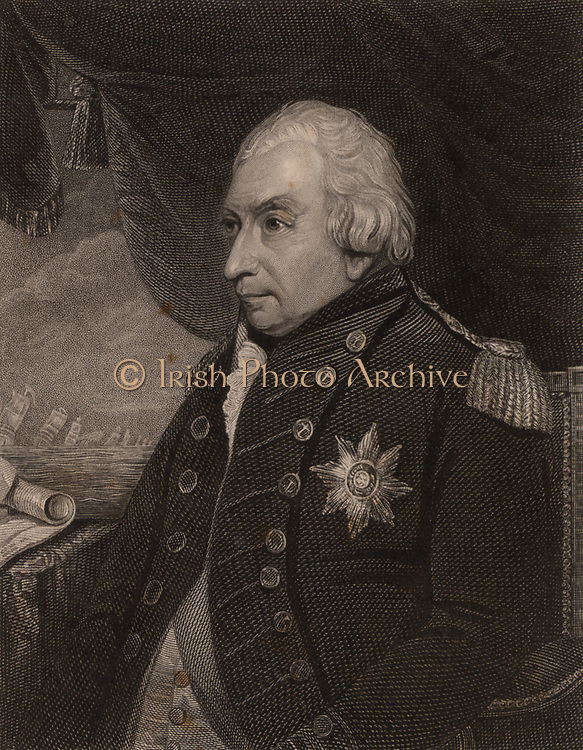 John Jervis, Earl St Vincent (1735-1823), born at Meaford, Staffordshire.  English naval officer who entered the Royal Navy in 1749 and rose to the rank of Admiral. Commander-in-Chief of the British Mediterranean fleet (1796-1799) and created Earl St Vincent for his defeat of the Spanish fleet off Cape St Vincent. First Lord of the Admiralty 1801. Retired 1811.  From 'National Portrait Gallery' by James Jerdan (London, 1830).