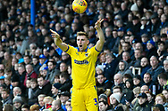 Ben Purrington (3) of AFC Wimbledon takes a throw in during the EFL Sky Bet League 1 match between Portsmouth and AFC Wimbledon at Fratton Park, Portsmouth, England on 1 January 2019.