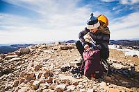 Caroline Gleich on the summit of Reids Peak, Uintahs.
