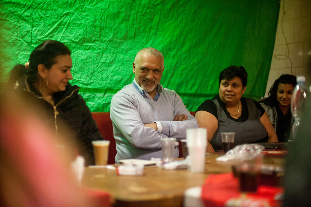 Activists Jolana Smarhovycova and Miroslav Klempar during a meeting with volunteers for data collection regarding school enrolments in a backroom of a bar in Ostrava.