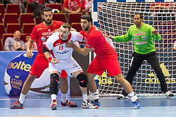 10.04.2016, Ergo Arena, Gdansk, POL, IHF Herren, Olympia Qualifikation, Polen vs Tunesien, im Bild Marouan Chouiref, Bartosz Jurecki, Makrem Missaoui // during the IHF men's Olympic Games handball qualifier between Poland and Tunisia at the Ergo Arena in Gdansk, Poland on 2016/04/10. EXPA Pictures © 2016, PhotoCredit: EXPA/ Newspix/ Tomasz Zasinski<br /> <br /> *****ATTENTION - for AUT, SLO, CRO, SRB, BIH, MAZ, TUR, SUI, SWE only*****