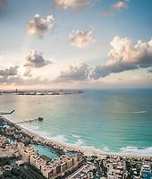 Panoramic aerial view of the Palm Jumeirah island and bay of Dubai, U.A.E.