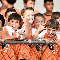 BRISBANE, AUSTRALIA - NOVEMBER 7: Eastern Suburbs junior players look on during the friendly match between Eastern Suburbs FC and Brisbane Roar FC at Heath Park on November 7, 2020 in Brisbane, Australia. (Photo by Patrick Kearney)