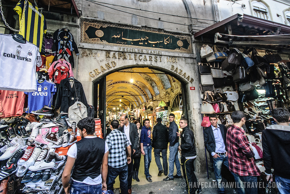 Gate 9 at Kapalocaso, ne of the entrances to Istanbul's historic Grand Bazaar dating to 1461. The outside of the complex is lined with yet more stores, so the entrances end up being rather hidden amongst the bustle. Inside are every-narrowing covered streets and passageways.