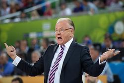 Dusan Ivkovic, head coach of Serbia dunks during basketball match between national team of Serbia and France of Eurobasket 2013 on September 15, 2013 in SRC Stozice, Ljubljana, Slovenia. (Photo By Matic Klansek Velej / Sportida.com)