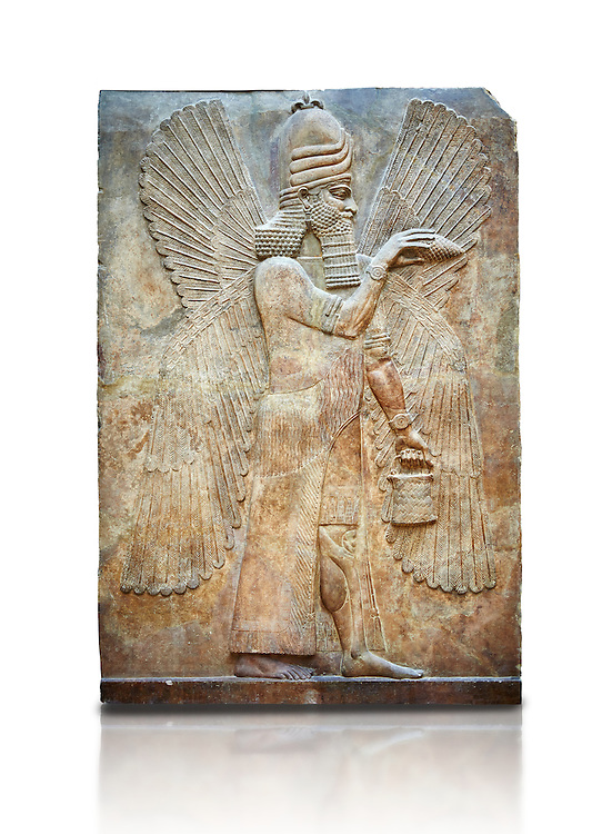 Stone relief sculptured panel of a Genie Blessing. Facade N. Inv AO 19865 from Dur Sharrukin the palace of Assyrian king Sargon II at Khorsabad, 713-706 BC.  Louvre Museum Room 4 , Paris .<br /> <br /> If you prefer to buy from our ALAMY PHOTO LIBRARY  Collection visit : https://www.alamy.com/portfolio/paul-williams-funkystock/ancient-assyria-antiquities.html  Refine search by adding background colour, place, subject, museum etc into the LOWER SEARCH WITHIN GALLERY box to <br /> <br /> Visit our ANCIENT ASSYRIAN PHOTO COLLECTIONS for more photos to download or buy as wall art prints https://funkystock.photoshelter.com/gallery-collection/Ancient-Assyrian-Art-Artefacts-Antiquities-Historic-Sites-Pictures-Images-of/C0000cjRqQyJjLag