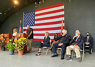 East Meadow, New York, U.S. September 10, 2020. Nassau County commemorates 19th anniversary of September 11 terrorist attacks with Remembrance and Name Recitation Ceremony at Harry Chapin Theater in Eisenhower Park, with names read of 348 county residents killed that day. Nassau County Executive LAURA CURRAN made introductory remarks. Due to COVID-19 concerns, participants wore face coverings, and residents were urged to virtually attend ceremony live online.