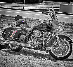 A 2013 Harley Davidson Road King in Black and White