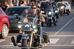 Son of Silence MC member at Junction and Lazelle during the annual Sturgis Black Hills Motorcycle Rally. Sturgis, SD, USA. Monday August 7, 2017. Photography ©2017 Michael Lichter.