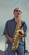 Saxophone playing during the Crawdaddy-o concert at Tucson's first-ever Fiesta en el Barrio Viejo in 2010.