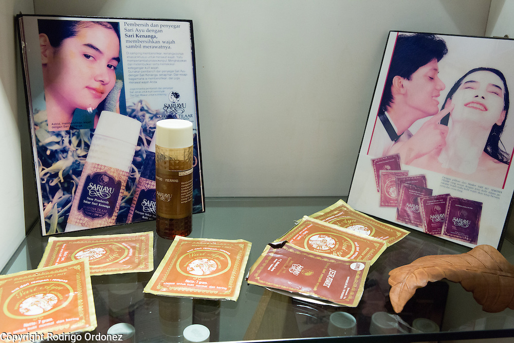 An old line of Sari Ayu products is displayed at the Martha Tilaar museum in East Jakarta, Indonesia, on July 2, 2015.