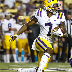 Sep 23, 2017; Baton Rouge, LA, USA; LSU Tigers wide receiver D.J. Chark (7) runs against the Syracuse Orange during the third quarter of a game at Tiger Stadium. Mandatory Credit: Derick E. Hingle-USA TODAY Sports