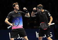 Tennis - 2018 Nitto ATP Finals at The O2 - Day Two<br /> <br /> Mens Doubles : Juan Sebastian Cabal (COL) and Robert Farah (COL) v Jamie Murray (GBR) and Bruno Soares (BRA)<br /> <br /> Jamie Murray and Bruno Soares celebrate winning the first set<br /> <br /> COLORSPORT/ANDREW COWIE