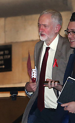 © Licensed to London News Pictures. 30/11/2015. London, UK. Labour Party leader JEREMY CORBYN (L) is seen walking in Parliament after attending a Parliamentary Labour Party meeting. Photo credit: Peter Macdiarmid/LNP