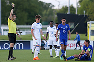 Edoardo Vergani of Italy (9) is cautioned for a foul during the UEFA European Under 17 Championship 2018 match between Israel and Italy at St George's Park National Football Centre, Burton-Upon-Trent, United Kingdom on 10 May 2018. Picture by Mick Haynes.