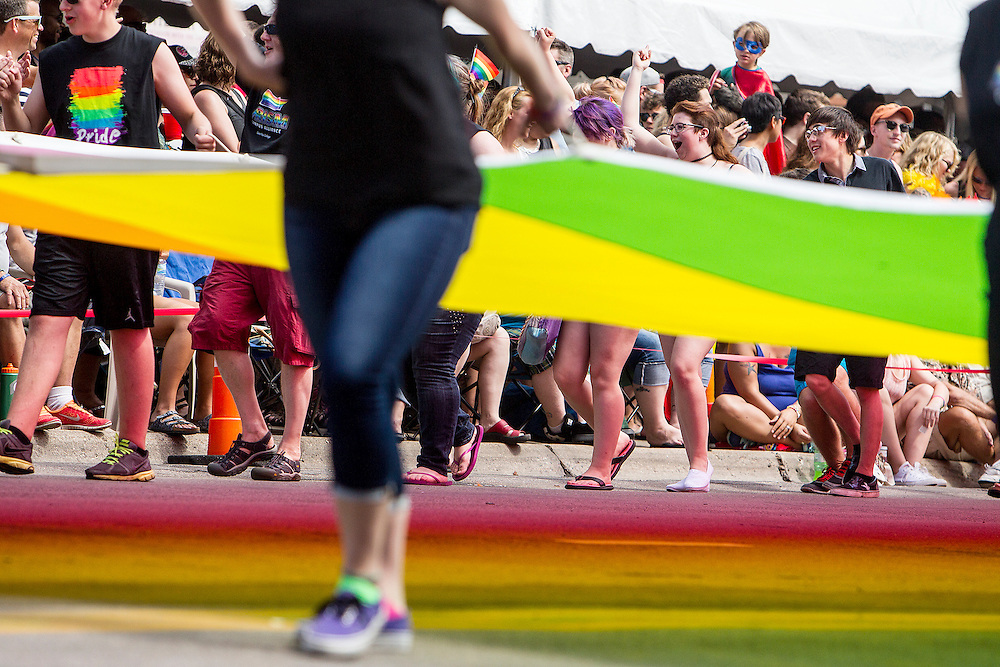 The rainbow flag makes its way down Hennepin Avenue in the 2015 Ashley Rukes GLBT Pride Parade in Minneapolis June 28, 2015.