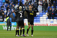 Wigan goalscorer Arouna Kone (2) celebrates with Paul Scharner ® at the final whistle after his team win 3-0. Barclays Premier league, Reading v Wigan Athletic at the Madejski Stadium in Reading on Saturday 23rd Feb 2013. pic by Andrew Orchard, Andrew Orchard sports photography,