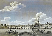 Machine colorized Rouen (France) with the old Bridge of Boats [Rouen is a city on the River Seine in northern France. It is the capital of the region of Normandy. Formerly one of the largest and most prosperous cities of medieval Europe] Copperplate engraving From the Encyclopaedia Londinensis or, Universal dictionary of arts, sciences, and literature; Volume XXII;  Edited by Wilkes, John. Published in London in 1827