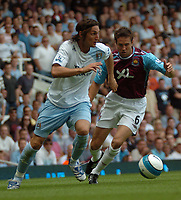Photo: Tony Oudot. <br /> West Ham United v Manchester City. Barclays Premiership. 11/08/2007. <br /> Rolando Bianchi of Manchester City goes past Matthew Upson of West Ham